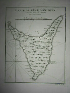 18th century antique map, Anjouan Nzwani island Comoros Ocean Captain Cornwal