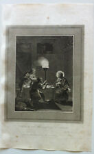 CHRIST & THE TWO DISCIPLES AT EMMAUS Morillier Gravure BIBLE BROWN 1814