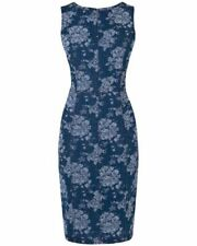 🎀 Phase Eight Lola Floral Cotton Denim Bodycon Summer Dress Navy Blue 10