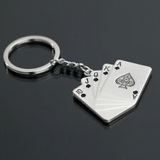 Silver Key Chain Ring Fob Poker Keychain Keyfob Chic Keyring LeaveNote For Black