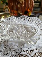 "Vintage Clear Pressed Glass Fluted Serving Dish Bowl Fruit Candy 10.5"" Diameter"