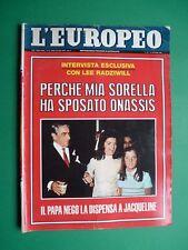 L'EUROPEO 1968 Jacqueline Kennedy Onassis Romy Schneider Alain Delon Nathalie