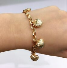 18k Solid Yellow Gold Big Heart Charms Italy Bracelet,7.25 Inches, 11.87 grams