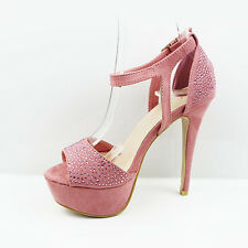 Womens Ladies Strappy Platform PEEP Toe High Heel Shoes Sandals Size 3-7 UK 4 Pale Pink