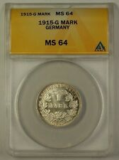 1915-G Germany One Mark Silver Coin 1M ANACS MS-64