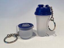 Set of 2 Tupperware Keychains - Mini Batter Bowl & Shaker Bottle - Blue & Sheer