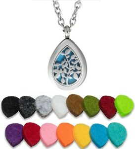 Essential Oil Diffuser Necklace Pendant Stainless Steel Aromatherapy Tree Drop