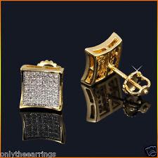 Mens & Ladies 14K Gold Finish 0.5ct. Lab Diamonds Screw Back Kite Earrings 8mm