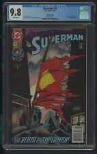 SUPERMAN 75 CGC 9.8 1/93 THE DEATH OF SUPERMAN 3RD PRINTING NEWSSTAND 013