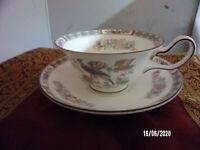 Wedgwood Kutani Crane Bone china Footed peony Shaped Cup & Saucer