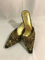METRO 7 Giselle Taupe Brown Size 6 EU 37.5 Sequin Beaded Slip On Shoes Flats