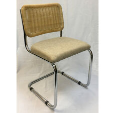 Breuer Metal Chair with Wicker Back and Hessian Fabric Seat