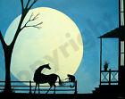 Print of folk art painting CAT TOY horse black silhouette moon happy fun pets DC