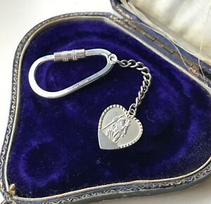 Sterling Silver Heart St Christopher Pendant Screw Keyring Keychain Travel Gift
