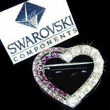 w Swarovski Crystal Purple Love HEART Valentine Bride Wedding Pin Brooch Jewelry