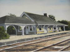 Village of GOLF TRAIN DEPOT WATERCOLOR Artist GRAY's Railroad Station Art PRINT