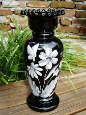 "Hand Blown & Painted Jet Black Bristol Glass Vase with Ruffle Edge 10"" x 4"""