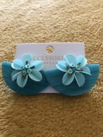 Accessorize Earrings Tropical Vintage 1950s Tiki Hawaiin Rockabilly Blue Teal