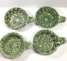 4 Roseville Green Spongeware Lug Handle Soup Chili Cereal Bowls by Gerald Henn