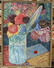 Prof Anton Toni Roth 1899-1971 Ölgemälde antik Stillleben Blumen Brief expressiv
