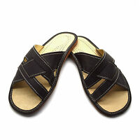 Mens Leather Slippers Slip On Shoes Sandals Size 6 7 8 9 10 11 12 UK Dark Brown