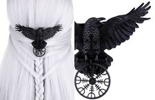 Restyle Gothic Rabe Haarspange Runen Raven Nordic Crow Talisman Hairclip Witch