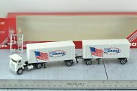 Herpa White Commander Tractor w/ 2 Trailers  Riteway 1:87 HO Scale