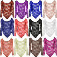 NEW LADIES FLORAL LACE BODY TOP BODYSUIT LEOTARD SIZE 8 10 12 14