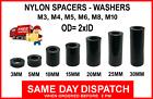Plastic Spacers Black Nylon Standoff Washers M3 M4 M5 M6 M8 M10 (OD= 2x ID)