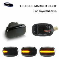 2Pcs LED Side Indicator Marker Turn Signal Lights Toyota Corolla Hilux Mk6 Lexus