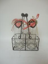 Glass Bottles Vase In Metal Wire Basket With Handles Red Heart Decorative C2