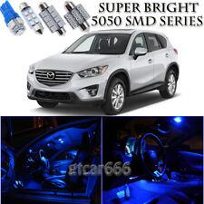 For Mazda CX-5 2013-2016 Blue LED Interior Kit + White LED License Light 8 Piece
