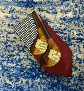 Polo Ralph Lauren Burgundy Blue Cream Houndstooth Logo Golf Silk Necktie USA