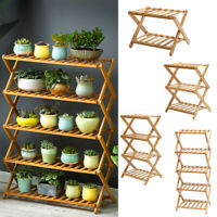 Flower Stand Shelf Planter Foldable Storage Display Bamboo Wooden Rack