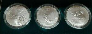 1994-W US Veterans Commemorative 3 Coin Silver Dollar UNC Set W/US Mint Box COA
