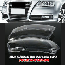 Pair Right + Left Clear Headlight Lens Lampshade Cover For Audi A6 C6 2006-2011