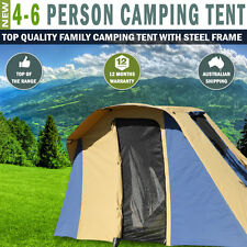 NEW 4 To 6 Person Family Camping Tent With 15oz Canvas & 19mm Steel Frame Poles
