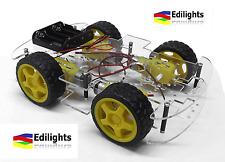 NEW 2017 ROBOT SMART CAR CHASSIS AUTO 4 RUOTE BODY KIT 4WD ARDUINO MOTORI GEARS