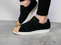 Adidas BY2963 Unisex Superstar 80S Black Suede Cork Toe Shoes Size UK 5.5, 7.5