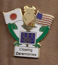 1998 Merrill Lynch Nagano Olympic Pin Closing Ceremonies Flag Japan USA Rings
