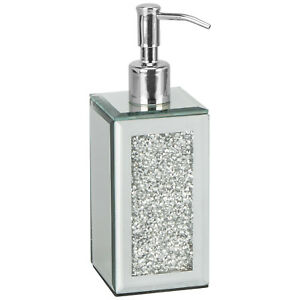 New Crushed Crystal Diamond Silver mirrored glass soap dispenser Hand cream pump