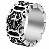 Biker Cool Men's Vintage Jesus Cross Ring Band Stainless Steel Punk US Size 7-12