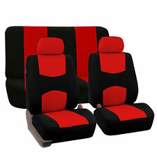 Complete Full Set Front Rear Car Seat Cover Red Black For Car Truck SUV