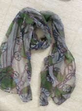 Grey / Green Scarf /Wrap/ hijab -chiffon type Huge - wheels/chains/ rope print