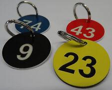 10x Stk. Zahlenmarken Schlüsselanhänger Ziffern 1-100 inkl. Gravur und Ringe