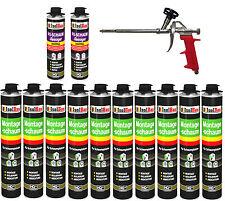 SET Pistolenschaum 10 x 750 ml + 1  Metall Schaumpistole + 2 Reiniger Bauschaum