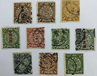 LOT OF 10 CHINA COILING DRAGON STAMPS KAI AND SUNG CHARACTERS OVERPRINTS NO DUP