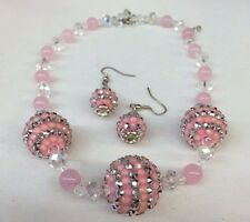 Girls Handmade Pink Crystal Beaded Necklace and Earring Set