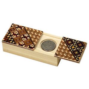 Japanese Samurai Wooden Yosegi Magic Coin Puzzle Trick Box HK-034 Made in Japan