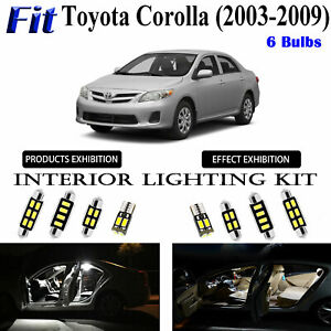 6pcs Super White Bright LED Interior Light Kit For Toyota Corolla 2003-2009 Lamp